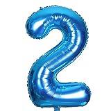 SMARCY Ballon Gonflable Chiffre 2 pour la Décoration d'anniversaire 2 Ans Bleu