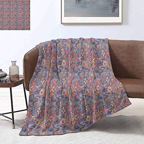 RenteriaDecor Floral Plush Blanket Colorful Blooming Flowers and Waves Spiral Curly Shapes Botanical Fantasy Pattern 60x60 Inch Super Soft, Plush, Luxury Flannel Throw