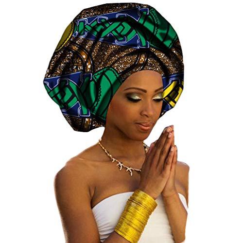 Mengyu Turban de Femmes Style National Foulard en Coton Tête Echarpe Longue avec Africaine Impression Element Headwraps (Style#12, 50 * 180cm)