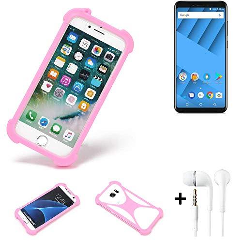 K-S-Trade® Bumper + Kopfhörer Für Vernee M6 Handyhülle Schutzhülle Silikon Schutz Hülle Cover Case Silikoncase Silikonbumper TPU Softcase Smartphone, Pink (1x)