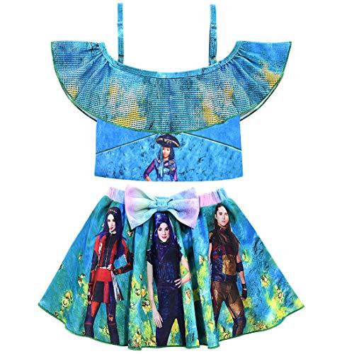 VARWANEO Cute Descendants 3 Swimsuits Bikini Set for Girls Princess 2 Piece Flounce Bathing Suits Beach Sports Swimwear (Blue, 7-8 Years)