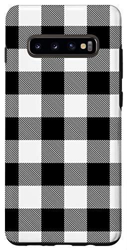Galaxy S10+ Black White Plaid Buffalo Check Modern Pin Stripe Pattern Case