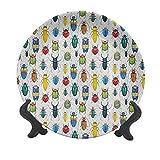 Plato decorativo de cerámica de 15 cm, colorido insecto con efecto pincel, varios tipos de bichos, ilustración, plato decorativo de cerámica para mesa de comedor, mesa, decoración del hogar