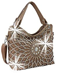 Taupe Double Handle Starburst Bling Handbag