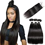 Beauhair Straight Hair Bundles with Closure (10 12 14+10 Closure) 100% Brazilian Straight Virgin Hair 3 Bundles with Lace Closure Free Part Human Hair Extensions Natural Black Color