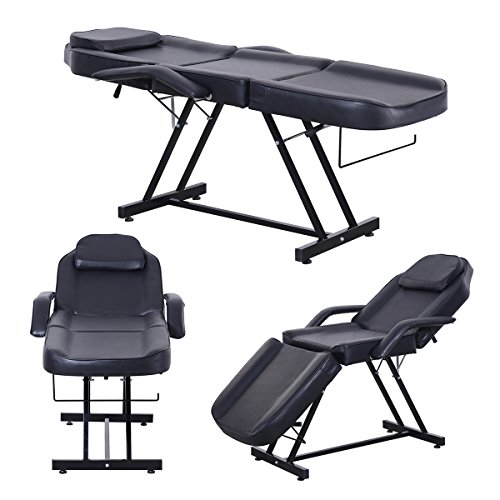 Apelila Beauty Salon Chair Massage Table Bed Folding Therapy SPA Bed Facial Tattoo Chair Black