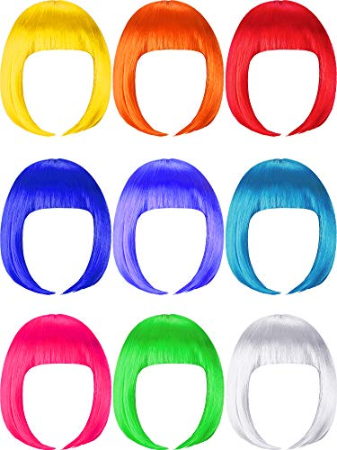 9 Pieces Short Bob Hair Wigs Colorful Cosplay Costume Wig Daily Party Hairpiece for Women Girls (Orange, Green, Violet, White, Blue, Pink, Red, Yellow, Sky Blue)