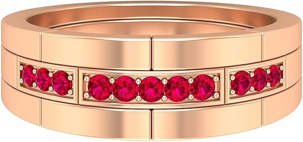 Unisex Wedding Band 1 4 CT Genuine Detroit Mall Birthstone Ring Round July Ruby Rin