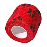 CK-Shop® Selbstklebender Verband für Haustiere, Kohäsive Fixierbinde, elastischer Fixierverband, Haftbandage, Tape - 5 cm x 4.5m in Rot mit Pfotenmuster