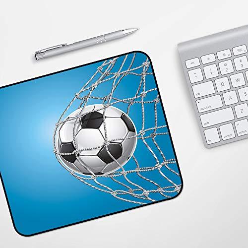 Gaming Mousepad Mauspad,Fußball, Fußballtor in der Netzunterhaltung, die für den Gewinn eines aktiven Lebensstils spielt, Blau, Hellgr,Komfort Mousepad - verbessert Präzision und Geschwindigkeit