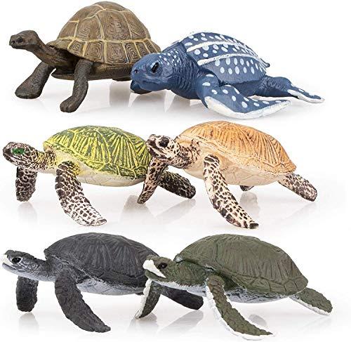 TOYMANY 亀フィギュア 爬虫類 フィギュアセット 陸と海 カメモデル リアル動物おもちゃ 6PCS PVCプラスチック製 成人向けのおもちゃ 誕生日プレゼント 装飾 置物 六歳以上