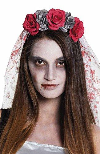 Tiara Sposa Horror con fiori e velo insanguinato