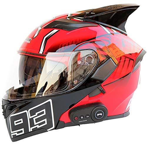 GHJNB Motocicleta Bluetooth Volteo Integral Casco con Doble Visera, Dot Certificado Adulto Motocross Casco, Incorporado MP3 FM Radio, 93 Hormiga Roja,L