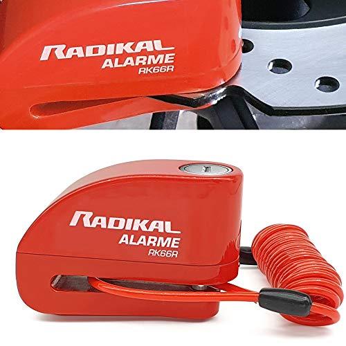 Radikal RK66R Candado Antirrobo Disco Alarma 110 db Universal Moto, Scooter, Bicicleta, Patinete, Regalo Cable recordatorio 1.5M, Mochila y Pilas de Recambio, 6 mm