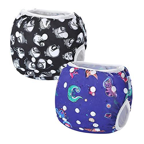 InnoBeta 2pcs Pannolini da Nuoto Riutilizzabile, Costume Pannolino Lavabili, Impermeabile Pannolino Piscina (1-2 anni), per Neonati e Bambini, Size M, DINOSAURO + PESCE