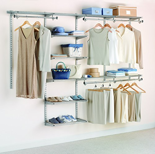 Rubbermaid Configurations Deluxe Closet Kit, Titanium, 4-8 Ft., Wire Shelving Kit with Expandable Shelving and Telescoping Rods, Custom Closet Organization System, Easy Installation