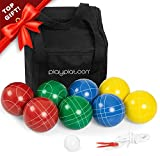 Play Platoon Bocce Ball Set with 8 Premium Resin Bocce Balls, Pallino, Carry Bag & Measuring Rope (4 to 8 Person Bocce Ball Set)