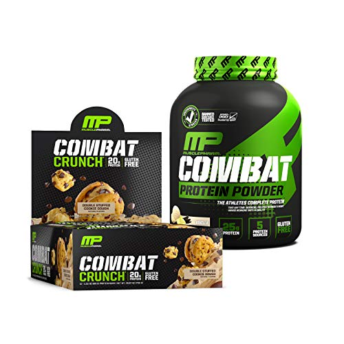 MusclePharm Combat Crunch Protein Bars, Double Stuffed Cookie Dough, pack of 12 & MusclePharm Combat Protein Powder, 4lb, Vanilla