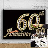 AOFOTO 7x5ft Happy 60th Anniversary Backdrop Silver Diamonds Old Couples Grandparents Wedding Day Party Company Institution School Founding 60 Years Photography Background Photo Studio Props