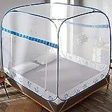 Installation Gratuite de moustiquaires, rehaussement à Trois Portes, moustiquaire d'été carrée à Fermeture éclair en Forme de U, Blocage des moustiquaires pour Insectes, Bleu Gazon, lit de 1,5 * 2m