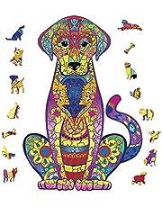 HALOVIE Puzzel van hout, dieren, educatief speelgoed voor kinderen en volwassenen, puzzelstukjes in unieke vorm, puzzelstukjes, kleurrijke dieren, puzzelspeelgoed, perfecte decoratie voor huis, hal