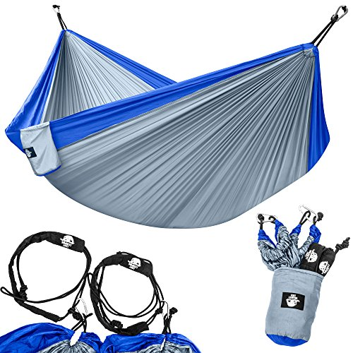 Legit Camping - Double Hammock - Lightweight Parachute Portable Hammocks for Hiking, Travel, Backpacking, Beach, Yard Gear Includes Nylon Straps & Steel Carabiners (Sky Blue/Graphite)