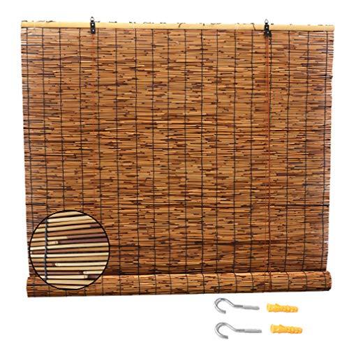 ZHUOZ1T Persianas de Caña Persianas Enrollables de Bambú,Cortina de Paja Natural Retro,Sombra Romana para Uso Exteriores e Interiores,Parasol/Transpirables,Personalizable(70x100cm/28x39in)