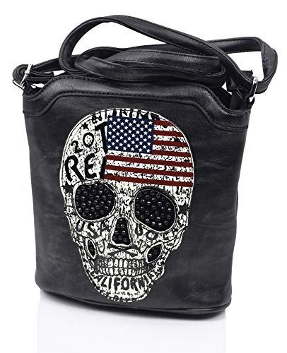 Damen Handtasche Totenkopf Skull Bone Umhängetasche Messenger Bag Gothic Punk Damentasche Schultertasche