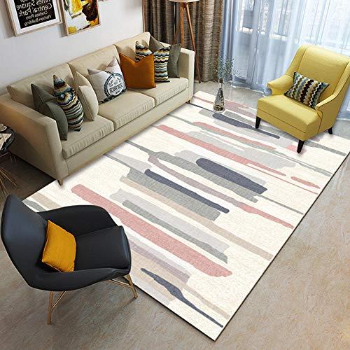 Alfombra de diseñador para el hogar, Moderno Pila Corta Gris Dormitorio Sala de Estar Piso antideslizante-29_80x120cm