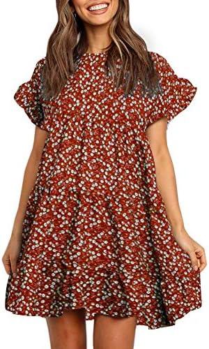 Imysty Womens Boho Floral Print Pleated Polka Dot Ruffle Casual Babydoll Mini Tshirt Tunic Dress product image