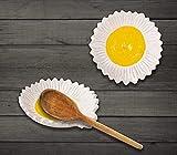 2 PCS spoon rest spoon holder for stove top spoon rest for kitchen counter spoon rest for stove top ceramic spoon rest White sunflower shape
