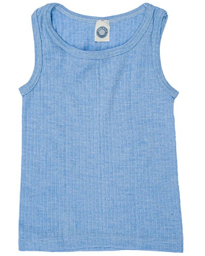 Cosilana, Kinder Achselhemd/Top, 45% KBA Baumwolle, 35% kbT Wolle, 20% Seide (128, Blau Meliert)