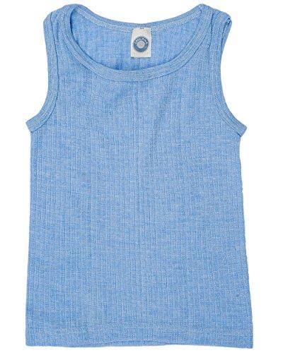 Cosilana, Kinder Achselhemd/Top, 45% KBA Baumwolle, 35% kbT Wolle, 20% Seide (140, Blau Meliert)