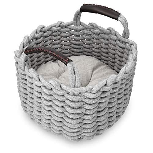 Navaris Katzenkorb aus Stoff mit Kissen - Katzenbett Hundebett weich in Korboptik - Bett für Katzen und Hunde - Katzenkörbchen