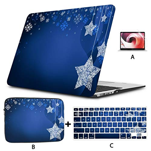MacBookPro13inchCase(New Pro UBS-C,2020,A2289/A2251), Festive Dark Blue Christmas Stars Laptop Case with Keyboard Cover + Sleeve + Screen Protector