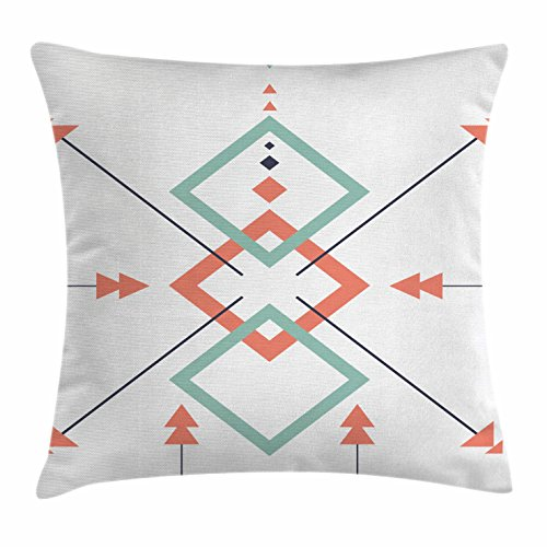 Lunarable Aztec Throw Pillow Cushion Cover, Latin American Arrows and Motifs in an Abstract Vibrant Colored Design Artwork, Decorative Square Accent Pillow Case, 16