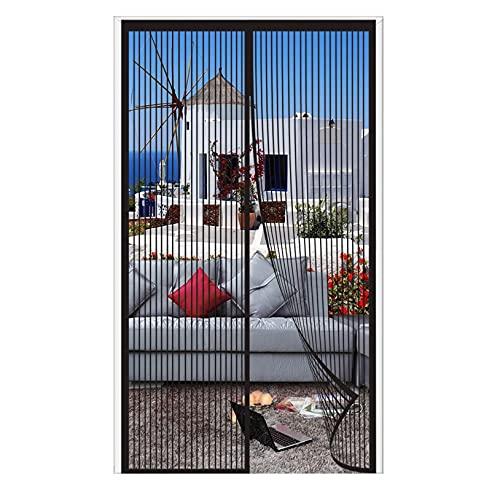 ERPENG Cortina Mosquitera 110x250cm Cierre automático Adsorción magnética Puerta Mosquitera Adsorción magnética Plegable para Puertas Metálicas, Puertas del Balcón, Negro