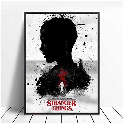 Pknbfw Stranger Things Posters TV Movie Prints Seda Canvas Painting Wall Art Pictures para dormitorio Niños Habitación Decoración Canvas Prints Wall Art Poster-50x70cm Sin marco