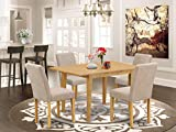 EAST WEST FURNITURE NOAB5-OAK-04 5Pc Set Includes a Rectangle 42/53.5 Inch Dinette Table with Butterfly Leaf and 4 Parson Chair with Oak Leg and Linen Fabric Light Fawn