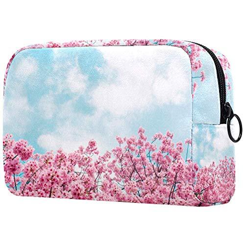 Spring Time Trousse de maquillage portable Motif floral Bleu ciel