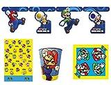 Nintendo Super Mario Bros - Juego de 4 platos, vasos de papel, servilletas y cubierta de mesa