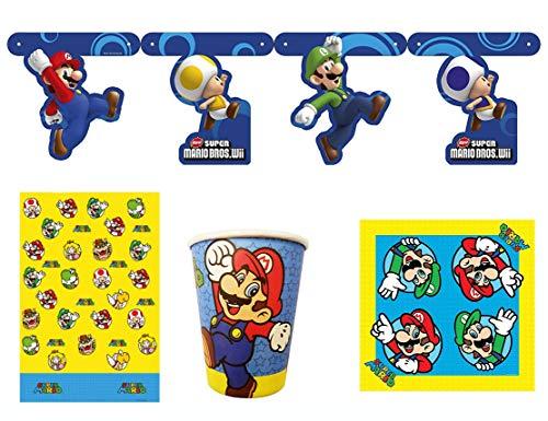 Nintendo Super Mario Bros - Juego de Platos y Vasos de Papel, 4 Piezas, servilletas y Mantel