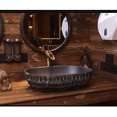 Lavabo de Baño Buque de arte retro de patrón de piedra □