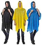Reusable Rain Poncho for Adult Thick PVC Breathable material Hood string Snap Closure Premium Emergency Raincoat for Men and Women Everyday Use Waterproof Rain Cover for all Outdoor Activities (3 PACK)