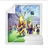 XWXBB Pikachu Couverture Pokémon Impression 3D Moelleux et Confortable Personnalité Chaud Couverture Microfibre Hypoallergénique Utilisation dans le Salon Chambre (A01,150 x 200cm)