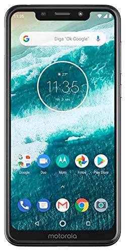 Moto One with Android One (64 GB) 5.9' Max Vision HD+, NFC, Dual Rear Camera, Dual SIM GSM Unlocked Smartphone (International Version) (White, 64GB + 64GB SD Bundle)