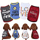 Yikeyo Puppy Dog Clothes for Small Dogs Boy - Summer Male Pet Shirts - Dog Tshirts Outfits - Pack of 4 Funny Clothing for Chihuahua Yorkies (4PC, Small)