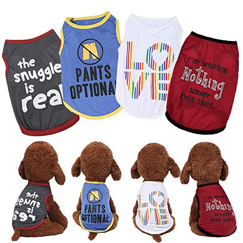 Yikeyo Male Dog Shirts - Small Dog Clothes for Boys - xs Puppy Clothes - Dog Shirt Pack of 4 - Dog Tshirts Outfits for Small Dogs - Chihuahua Clothes - Summer Dog Clothes (4PC, X-Small)