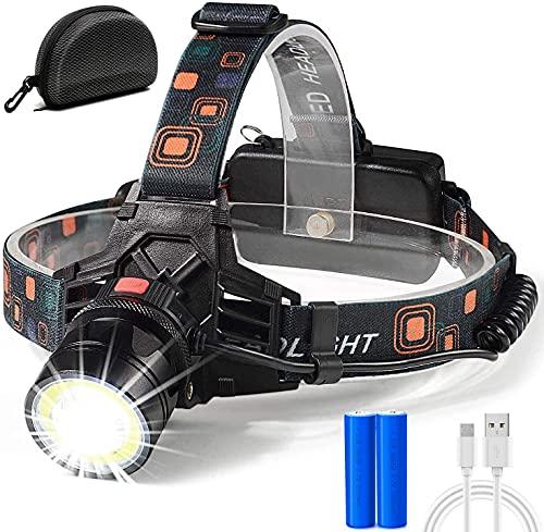 COB Head Lamp USB Rechargeable Work Light-Bright 6000 Lumen 2 Function Merge(COB&Spot Light),10 Hours Long Lasting.Xtreme Bright 9oz IPX4 Waterproof Zoomable 18650 Headlamp Led Flashlight