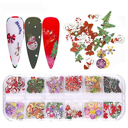 Christmas Nail Art Stickers Decals Nail Art Supplies Christmas Theme Snow Wood Pulp Nail Foil 3D Nail Art Accessories 12 Grids Mix Color Nail Art Designs for Acrylic Nails Christmas Party Decor